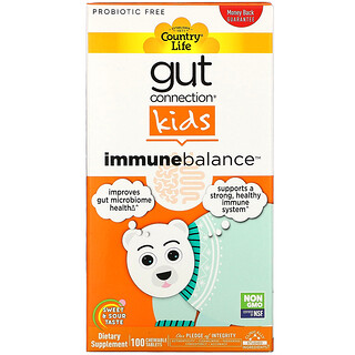 Country Life, Gut Connection Kids, Immune Balance, Sweet & Sour, 100 Chewable Tablets