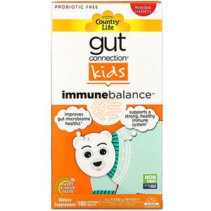 Country Life, 腸道連接兒童,免疫平衡,酸甜味,100 片咀嚼片