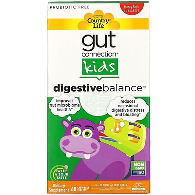 Купить Country Life Gut Connection, Digestive Balance, детская пищевая добавка, 60 жевательных таблеток с кисло-сладким вкусом