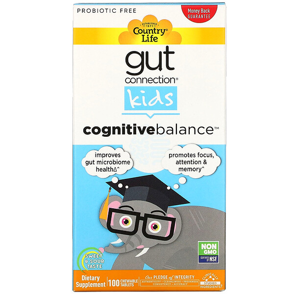 Country Life, Gut Connection Kids, Cognitive Balance, Sweet & Sour, 100 Chewable Tablets