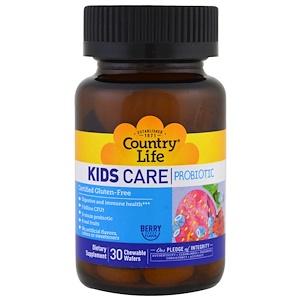 Country Life, Детский пробиотик Kids Care, аромат ягод, 30 жевательных конфет