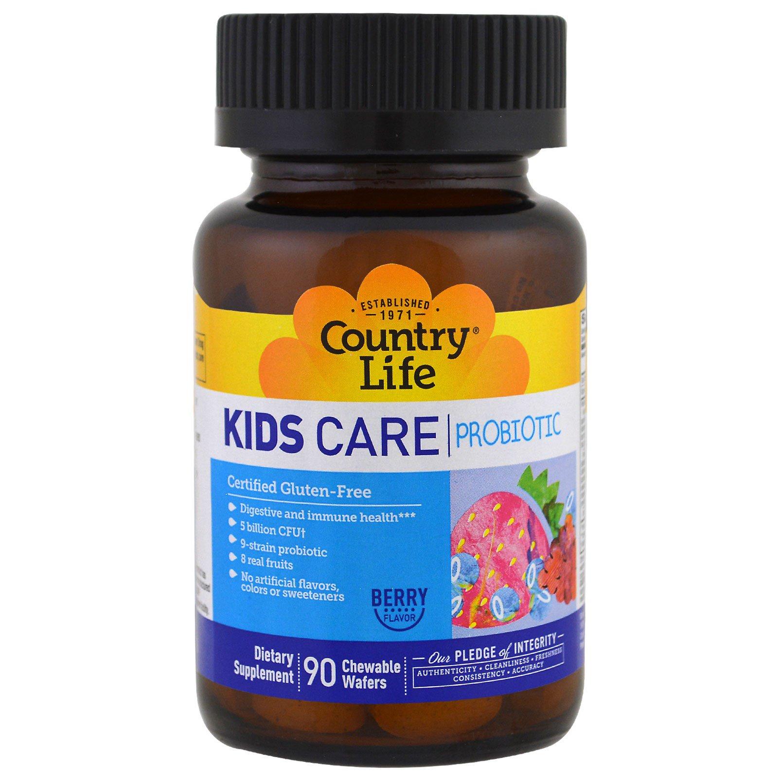 Country Life, Пробиотик Kids Care, ягодный вкус, 90 жевательных вафель