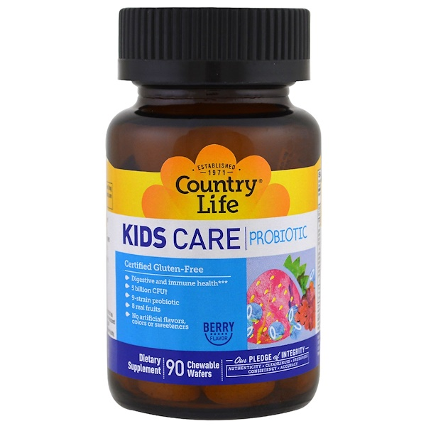 Country Life, Kids Care Probiotic, Berry Flavor, 5 Billion CFU, 90 Chewable Wafers (Discontinued Item)
