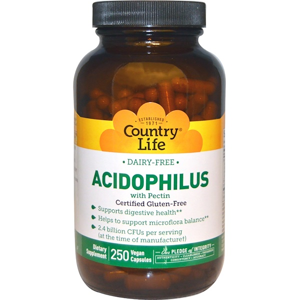 Country Life, Acidophilus with Pectin, 250 Veggie Capsules