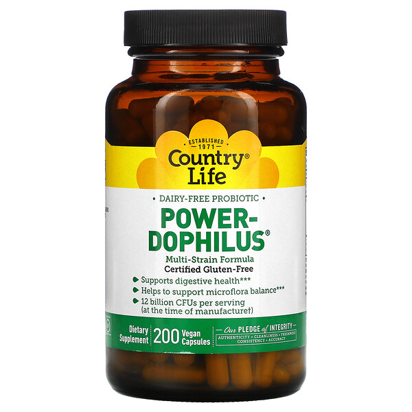 Country Life, Dairy-Free Probiotic, Power-Dophilus, 200 Vegan Capsules