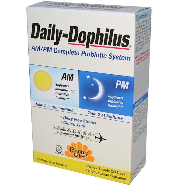 Country Life, Daily-Dophilus, AM/PM Complete Probiotic System, 112 Vegetarian Capsules (Discontinued Item)