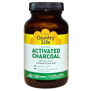 Country Life, Activated Charcoal, 260 mg (4 g), 100 Capsules