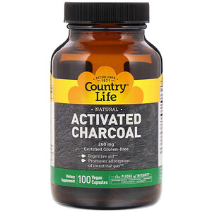 Кантри Лайф, Activated Charcoal, 260 mg, 100 Vegan Capsules отзывы