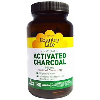 Country Life, Activated Charcoal, 260 mg, 180 Capsules