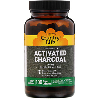 Country Life, Activated Charcoal, 260 mg, 180 Vegan Capsules