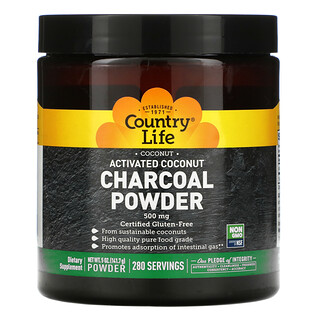 Country Life, Activated Coconut Charcoal Powder, 500 mg, 5 oz (141.7 g)