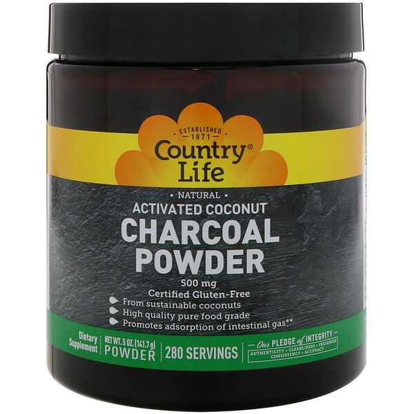 Country Life, Natural Activated Coconut Charcoal Powder, 500 mg, 5 oz (141.7 g)