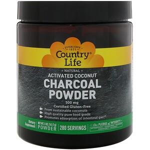 Country Life, Натуральный, Активированный уголь с кокосом в порошке, 500 мг, 5 унц. (141,7 г)
