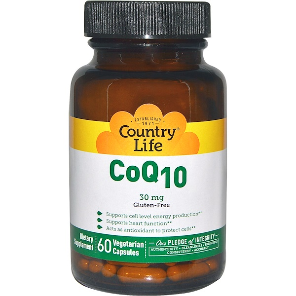 Country Life, CoQ10, 30 mg, 60 Veggie Caps (Discontinued Item)