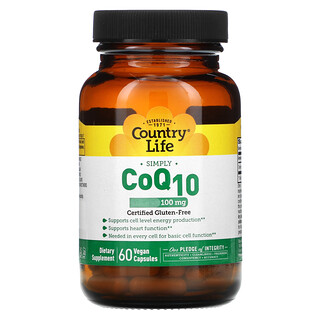 Country Life, Simply CoQ10, 100 mg, 60 Vegan Capsules