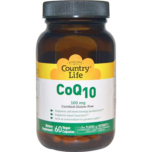 Country Life, CoQ10, 100 mg, 60 Vegan Caps