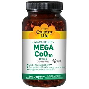 Кантри Лайф, Maxi-Sorb, Mega CoQ10, 100 mg, 60 Softgels отзывы