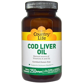 Country Life, Cod Liver Oil, 250 Softgels