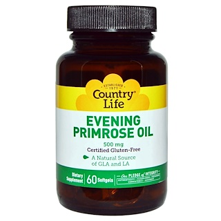 Country Life, Evening Primrose Oil, 500 mg, 60 Softgels