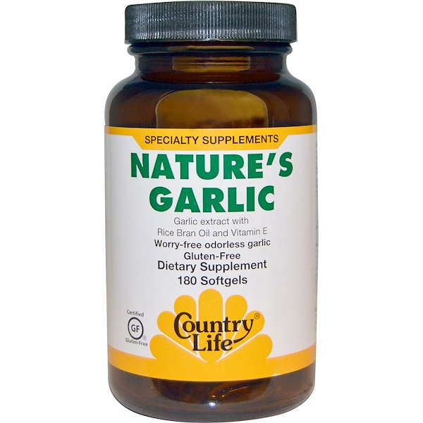 Country Life, كبسولات Nature's Garlic بخلاصة الثوم، 180  كبسولة هلامية
