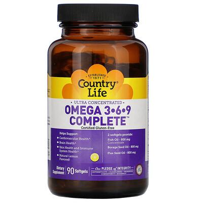 Ultra Concentrated Omega 3-6-9 Complete. Natural Lemon, 90 Softgels