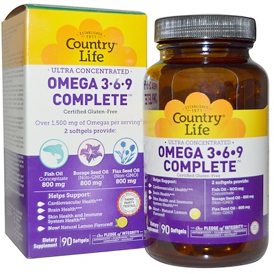 Country Life Ultra Concentrated Omega 3-6-9 Complete, Natural Lemon, 90 Softgels