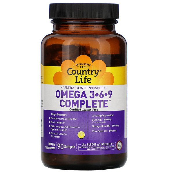 Ultra Concentrated Omega 3-6-9 Complete. Natural Lemon, 90 Softgels