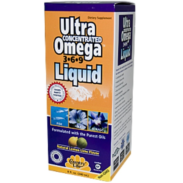 Country Life, Ultra Concentrated Omega 3·6·9 Liquid, Natural Lemon Lime Flavor, 8 fl oz (240 ml) (Discontinued Item)