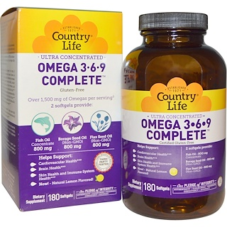 Country Life, Ultra Concentrated Omega 3•6•9 Complete, Lemon Flavor, 180 Softgels