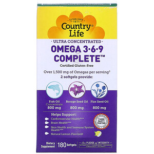 Кантри Лайф, Ultra Concentrated Omega 3-6-9 Complete, Natural Lemon, 180 Softgels отзывы покупателей