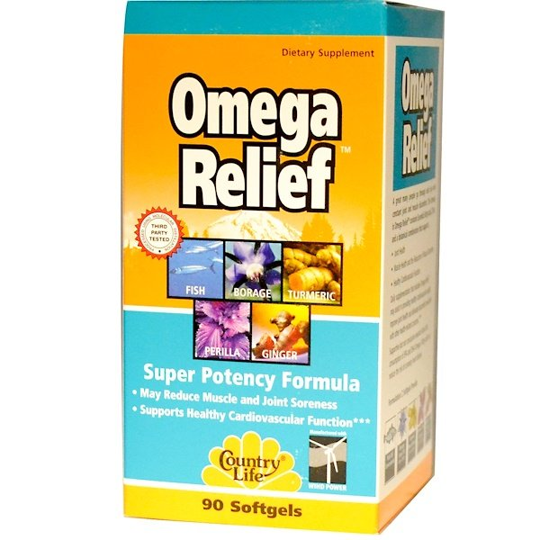 Country Life, Omega Relief, Super Potency Formula, 90 Softgels (Discontinued Item)