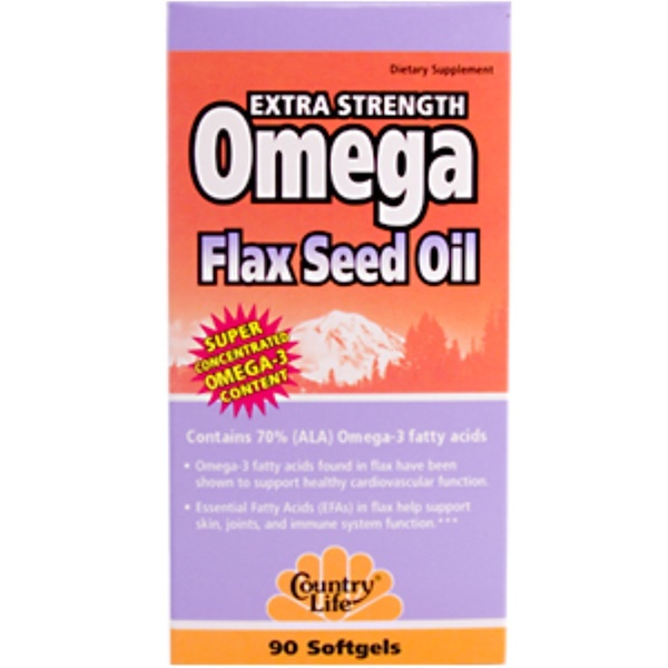 Country Life, Omega Flax Seed Oil Extra Strength, 90 Softgels (Discontinued Item)