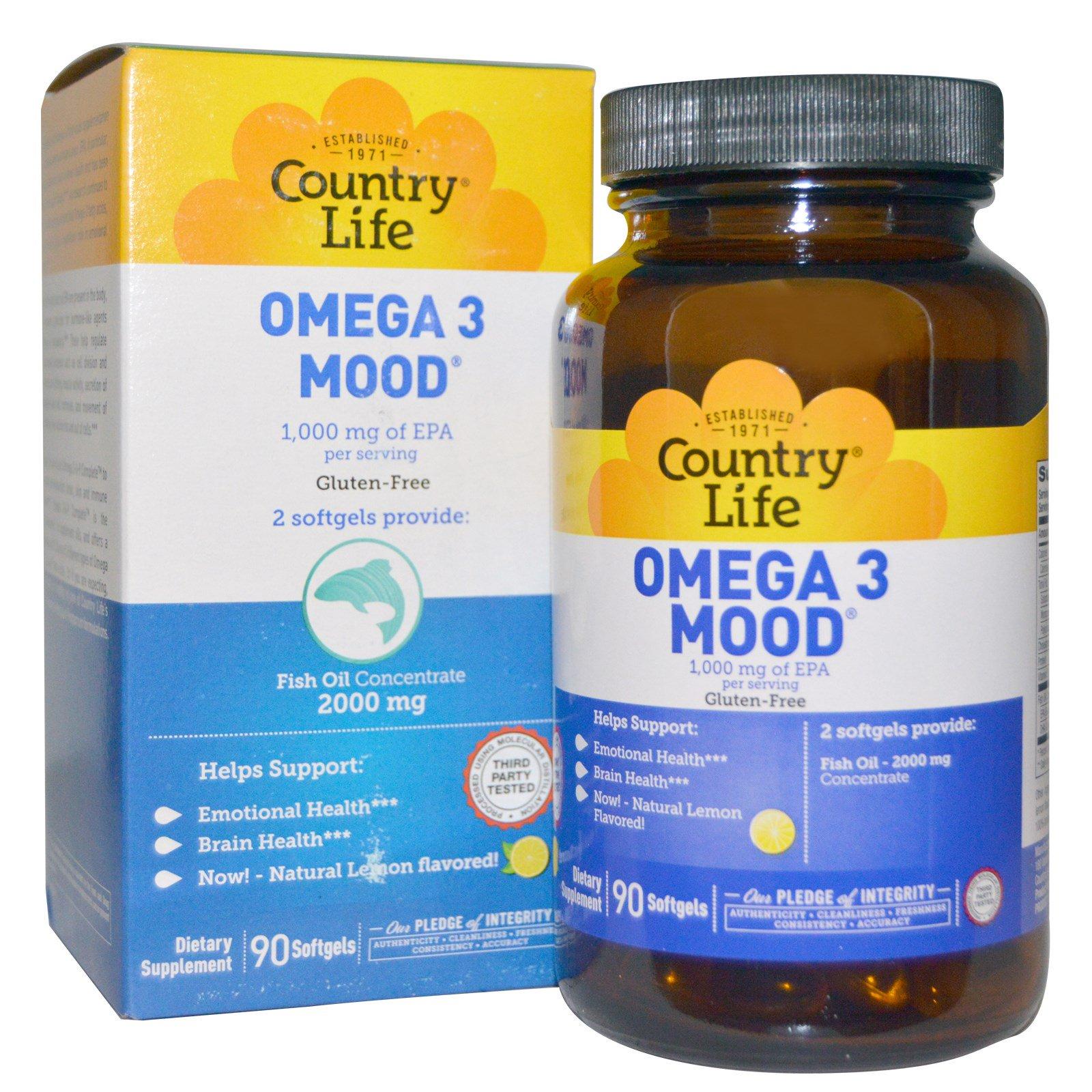 Country Life, Omega 3 Mood, с натуральным вкусом лимона, 90 желатиновых капсул