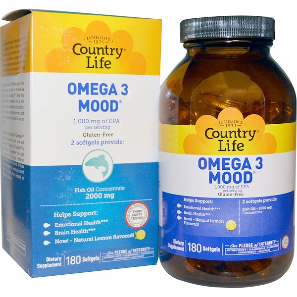 Country Life, Omega 3 Mood, Natural Lemon Flavored, 180 Softgels