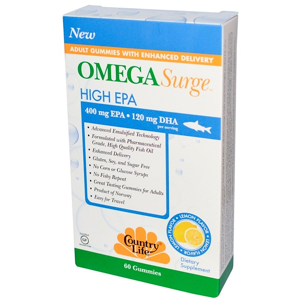 Country Life, Omega Surge, High EPA, Lemon Flavor, 60 Gummies (Discontinued Item)