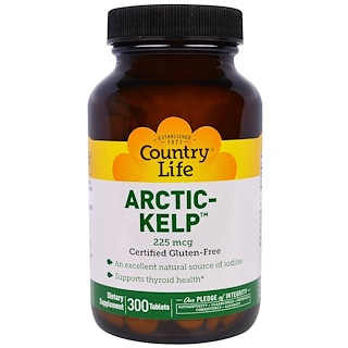 Country Life, Artic-Kelp, 225 mcg, 300 Tablets