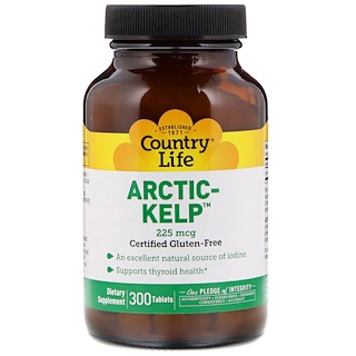 Country Life, Arctic-Kelp, 225 мкг, 300 таблеток