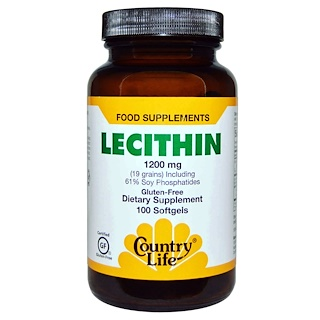 Country Life, Lecithin, 1200 mg, 100 Softgels