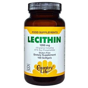 Кантри Лайф, Lecithin, 1200 mg, 100 Softgels отзывы покупателей