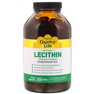 Country Life, Лецитин, 1200 мг, 300 капсул