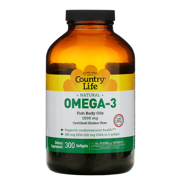 Country Life, Natural Omega-3, 1,000 mg, 300 Softgels