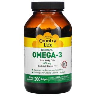 Country Life, Natural Omega-3, 1,000 mg, 200 Softgels