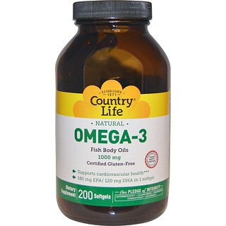 Country Life, Omega-3, 1000 mg, 200 Softgels