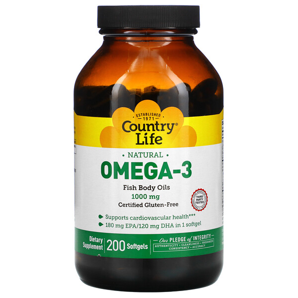 Country Life, Natural Omega-3, 1,000 mg, 200 Softgels
