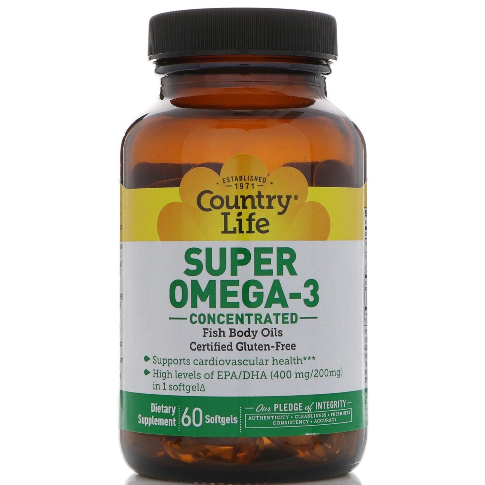 Country Life, Супер Омега-3, концентрированный, 60 капсул