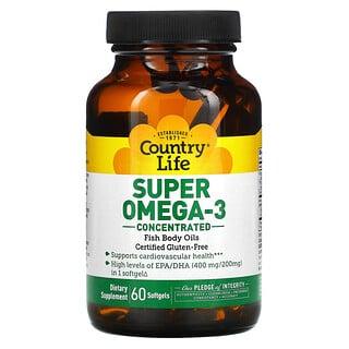 Country Life, Súper Omega-3, concentrado, 60 softgels