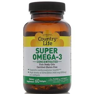 Кантри Лайф, Super Omega-3, Concentrated, 60 Softgels отзывы покупателей
