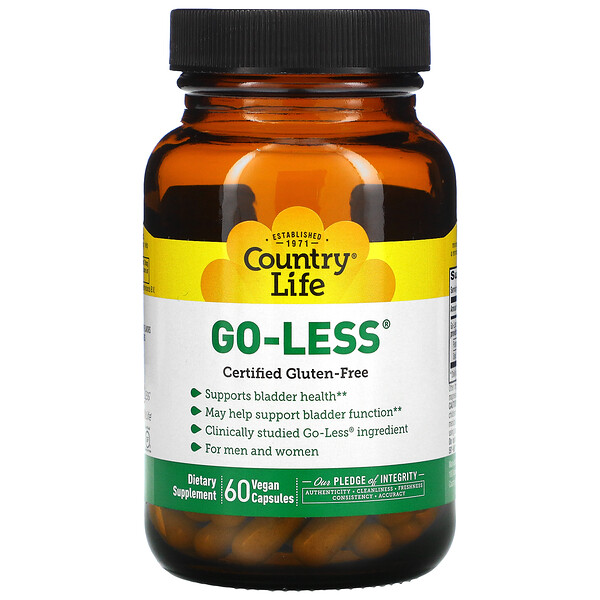 Country Life, Go Less, Supports Bladder Health, for Men & Women, 60 Vegan Capsules