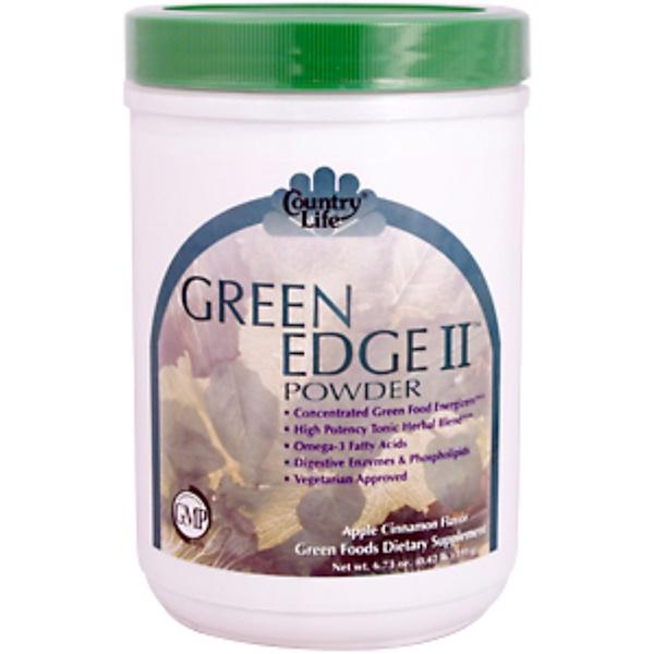 Country Life, Green Edge II Powder, Apple Cinnamon Flavor, 6.6 oz (0.41 lb) (188 g) (Discontinued Item)