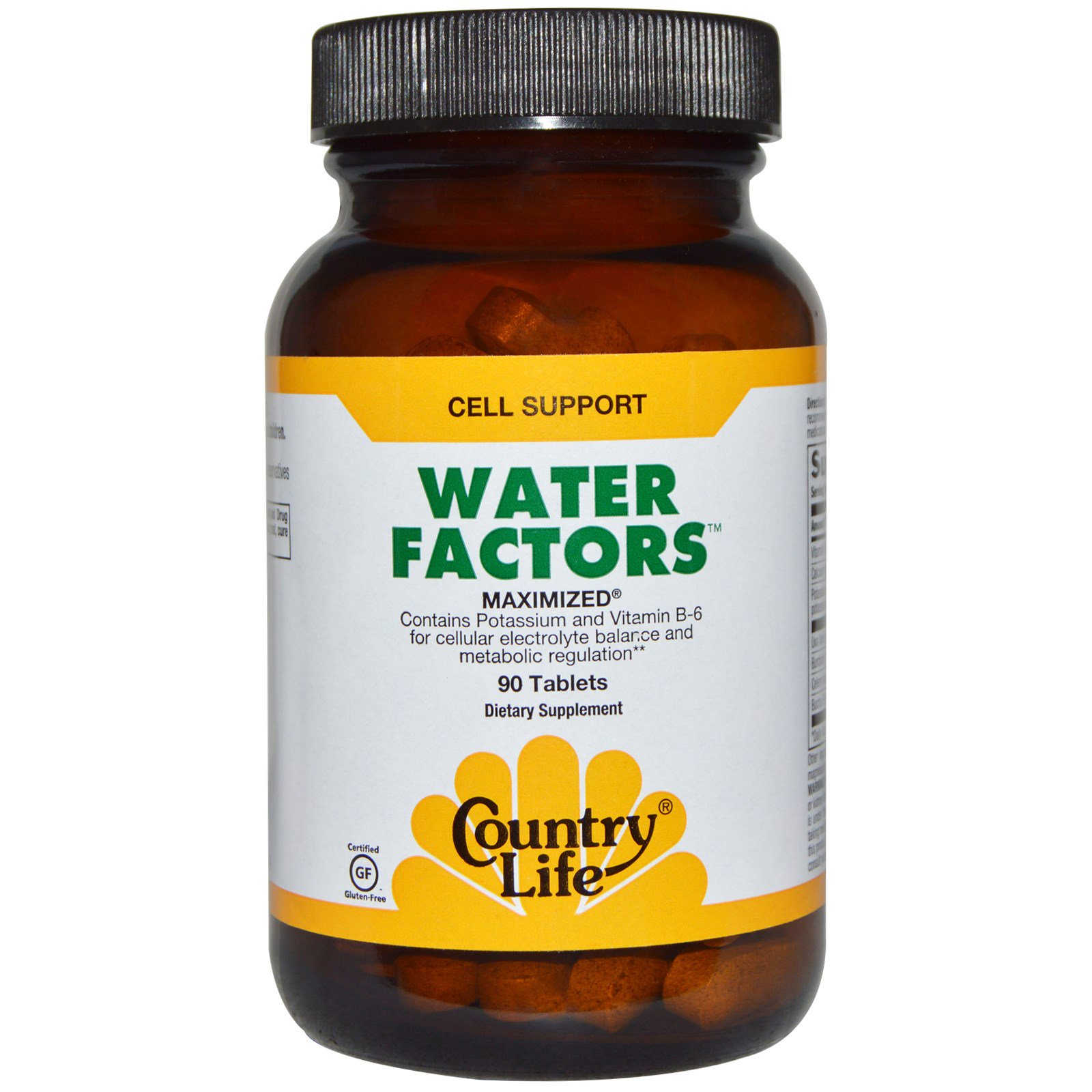 Country Life, Пищевая добавка «Факторы воды», максимальный эффект, 90 таблеток